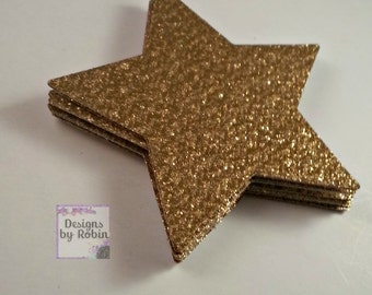 25 - 3 inch Gold Glitter Star Die Cuts, Wedding Gold Diecuts, Country Star Cut Outs- Outdoor Star Dies, Star, Baby Shower, Twinkle Star