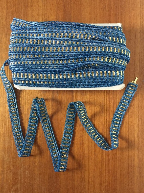 vintage trim metallic lurex blue and gold foil woven braiding 20m plus a whole spool NOS disco dance costume craft embellishment 1960s 1970s