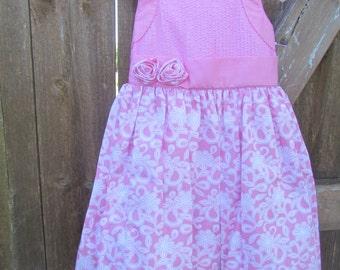 Pin-tucks pink rosebud dress -7518