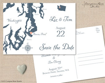 Wedding Map Save The Date, Washington Save The Date Map, Any Location, Destination Wedding, Elopement Announcement
