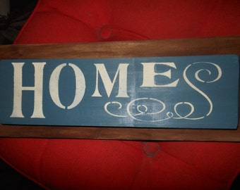 Rustic Home Sign On Dark Wood Background