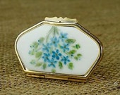 Vintage Pill Box Gold Tone Blue Green Flowers 3 Compartment Tray w/ Info Tag