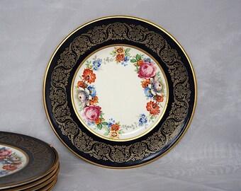 Vintage Plates - English China Plates - Dessert Plates - Cobalt Blue Floral Plates - Bread Plates - 1940s China - Ambassador Ware Fondeville