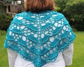Crochet Shawl Lace Blue Wrap Womans Accessories Hand Crocheted