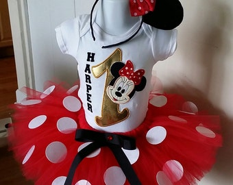 Red and Gold Minnie Mouse Tutu Set