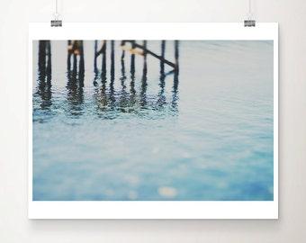 ocean photograph pier photograph blue home decor ocean print coastal print abstract photograph blue photograph seascape photograph