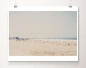 beach photograph santa monica photograph califonia photograph life guard tower photograph beach house decor pacific ocean photograph