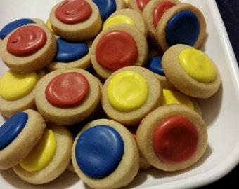 Mini Snow White Round Button Cookies (4 dozen)