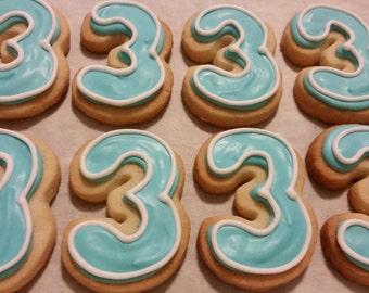 Number 3 sugar cookies by Rachelle's Cookie Factory www.facebook ...