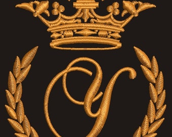 """Crown, laurel wreath and the monogram letter """"Y"""" - Machine embroidery design,   design tested."""