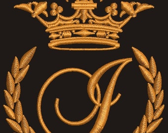 """Crown, laurel wreath and the monogram letter """"I"""" - Machine embroidery design,   design tested."""