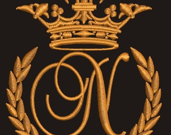 """Crown, laurel wreath and the monogram letter """"N"""" - Machine embroidery design,   design tested."""