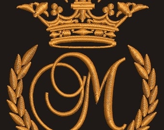 "Crown, laurel wreath and the monogram letter ""M"" - Machine embroidery design,   design tested."