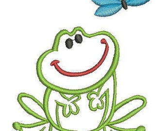 Cute Frog - Machine Embroidery Design - two sizes