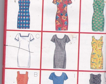 Butterick 4998 Vintage Pattern Womens Fitted Dress in 9 VariationsSIze 12,14,16 UNCUT