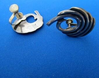 Mexican 50's  Sterling Screw Back Earrings Markings