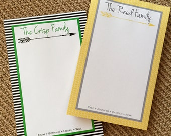 Personalized Family Notepads-Custom Stationary-Paper Pads-Arrows
