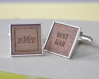 Personalised Best Man Monogram Cufflinks - Monogrammed Cufflinks - Engraved Monogram - Wooden Cufflinks - Silver Plated - Best Man Present