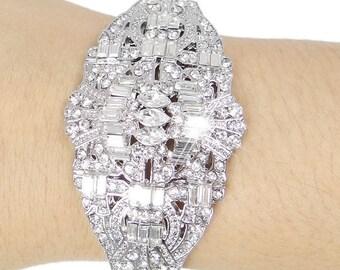 "Bridal Bracelet Wedding Bracelet Silver""Art Deco"" Wedding Bracelet Bridal Jewelry Wedding Jewelry Bridal Accessories Style-161"