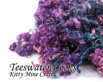 Teeswater Wool Locks - Hand Dyed Wool - Doll Hair, Spinning Art Yarn, Felting - 3-5 inches - Purple, Teal