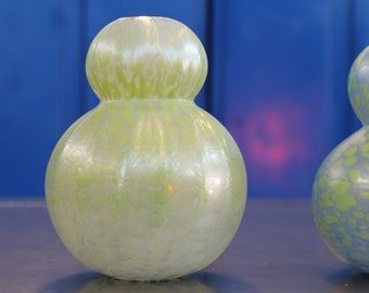 Handblown Glass Vase. No Neck Double Gourd style. Celadon with Chameleon. Iridescent. DG16_0001