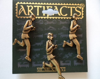 Vintage Signed JJ Pin Tacs Bronze pewter Trio of Runners