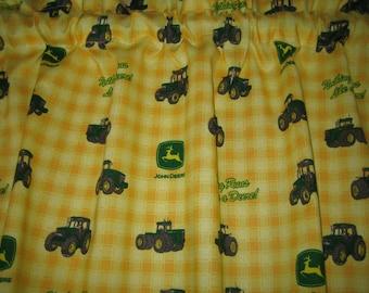 "JOHN DEERE Curtain Valance 41"" wide x 15"" long/height in 100% Cotton - Handmade New."