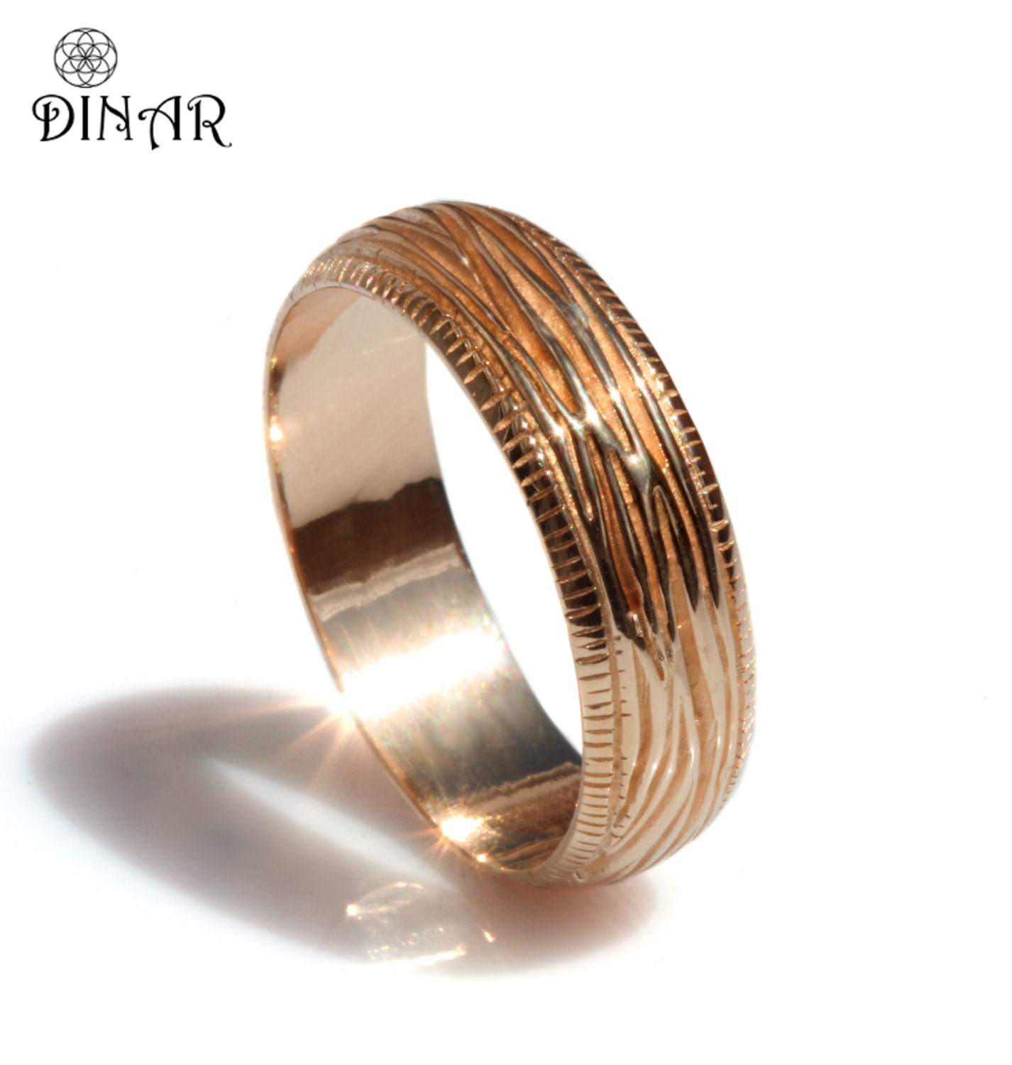 Woodgrain wedding band 14k rose Gold textured wedding band