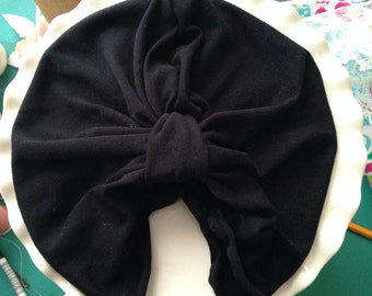 Black Turban Hat or Turban/Knotted Headband