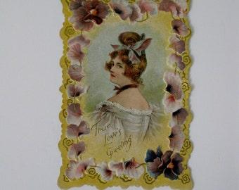Valentine's Day Victorian Era Postcard - True Love's Greeting - Purple Pansy Border - 1900s