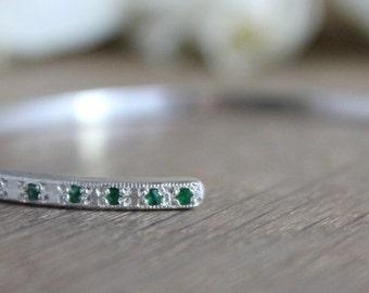 Sterling silver emeralds pavé cuff bracelet.