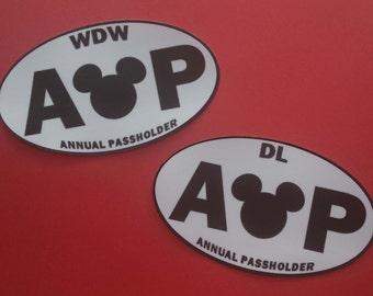 Annual Passholder Bumper Sticker or Car Magnet - Walt Disney World or Disneyland - Handmade!