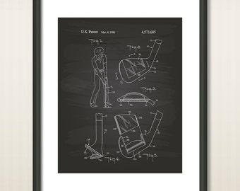 Golf Club Head 1986 Patent Art Illustration - Drawing - Printable INSTANT DOWNLOAD - Get 5 colors background
