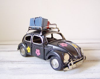Hippie bug car miniauture, vintage, blue, VW Beetle car miniature with pink yellow flowers, collectible, boho bug car, mid nineties