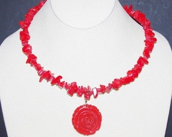 Natural Red Coral Wire Necklace with Pendant  - S1034