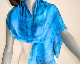 Blue Silk Scarf, Hand Painted Silk, Hand Dyed Scarf, Classic Blue, navy blue, ultramarine accents, Artist Handmade, One of a kind, Jossiani.