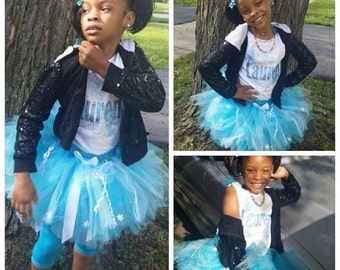 Birthday Tutu outfit personalized with child's name,age and A Birthday Phrase sz. 4-7