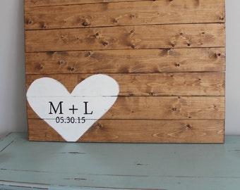 Custom wood pallet wedding guestbook, alternative guestbook, wedding gift, anniversary gift, custom wood sign, guest book, pallet sign