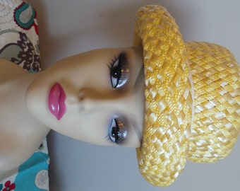 Vintage 1950's YELLOW Straw Union Made Ribbon and Brim Hat