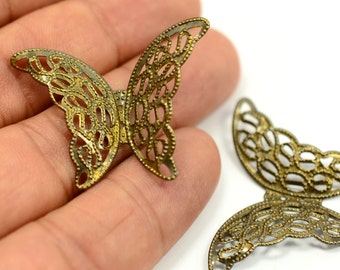 10 Pieces Antique Brass 27x37 mm Huge Butterfly Charms Findings