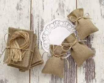 30 Wedding Favor Bags, Burlap Gift Bags, Rustic Candy Bags - 3 х 4