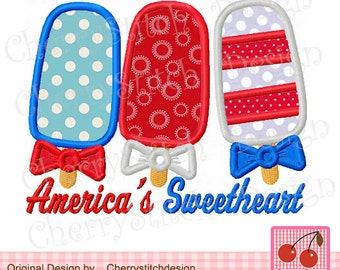 America's Sweetheart-4th of July -patriotic digital applique - 5x7 6x10-Machine Embroidery Applique Design