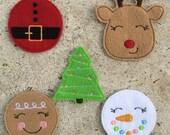 Christmas Feltie Grab Bag - DIY Hair Clips - Holiday Assortment -  Felt Embroidery Embellishment Santa Reindeer Snowman