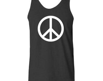 Peace Sign (White) Tank - Black