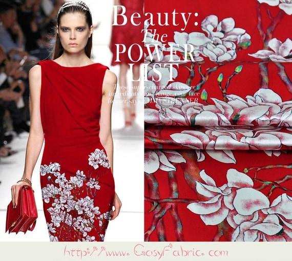 magnolia denudata print red stretch silk satin fabric fashion floral silk dress fabric silk. Black Bedroom Furniture Sets. Home Design Ideas