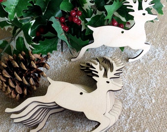 Wooden Christmas Decoration Stag, Christmas tree ornament, Gift Tag, Reindeer Blank Shape