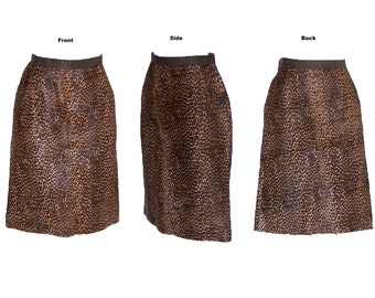 OSCAR De La RENTA 80s to 90s Leopard Skirt Vintage Leather Skirt S Free Domestic and Discounted International Shipping