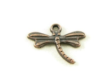 Dragonfly Charms in Antiqued Copper - 25 Pieces - Small Charms - Copper Charms - Jewelry Supplies - Jewelry Findings - DIY Jewelry