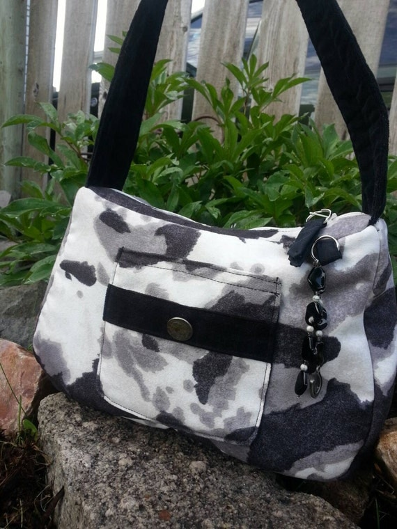 Faux Cowhide Suede Purse, Handbag with Outside and Inside Pockets