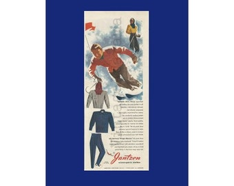 JANTZEN WINTER SPORTS Clothing Original 1948 Vintage Color Print Ad - Snow Skiers in Action on the Slopes; Ski Clothing